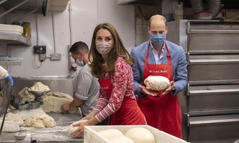 The Duke and Duchess of Cambridge kneaded dough at the Beigel Bake Brick Lane Bakery
