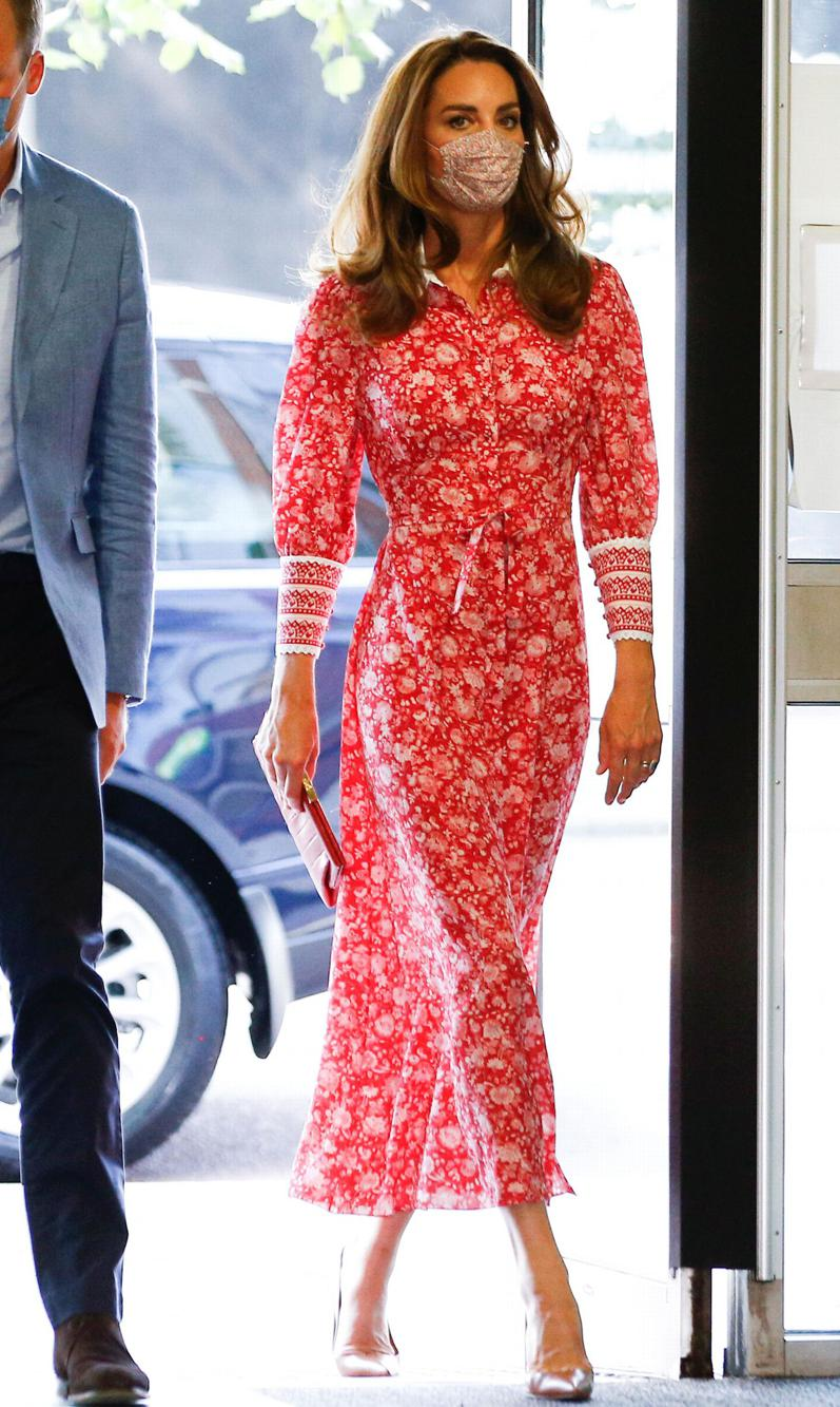 Kate Middleton wore a floral print dress and face mask on Sept. 15