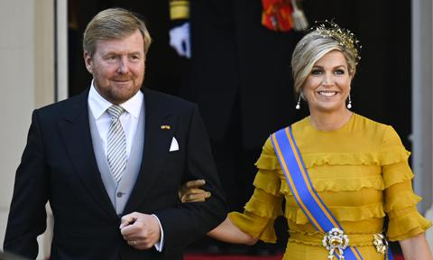 Queen Maxima stuns in recycled gown and gold hairpiece for Prince's Day