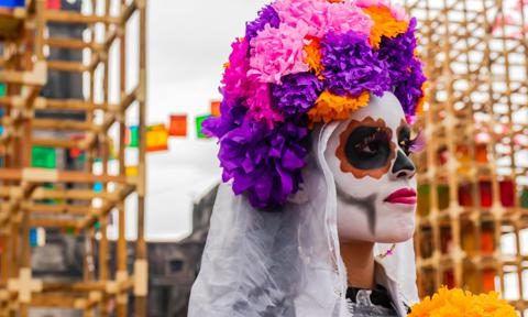 Woman dressed as a Catrina for Día de Muertos.