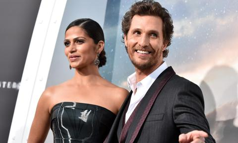 "Camila Alves McConaughey (L) and actor Matthew McConaughey attends the premiere of Paramount Pictures' ""Interstellar"""