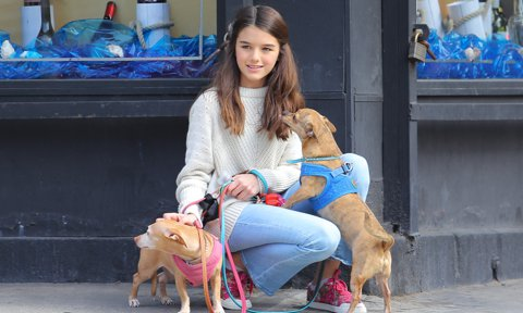 Suri Cruise seen playing with her puppies while out and about in New York City