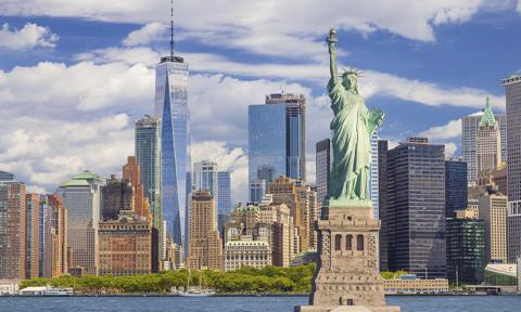 New York, la estatua de la libertad, Manhattan y el World Trade Center