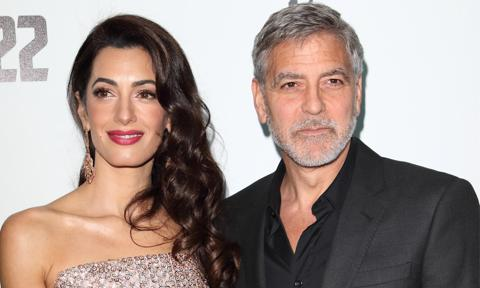 Amal Clooney and George Clooney attend the Catch 22 - TV