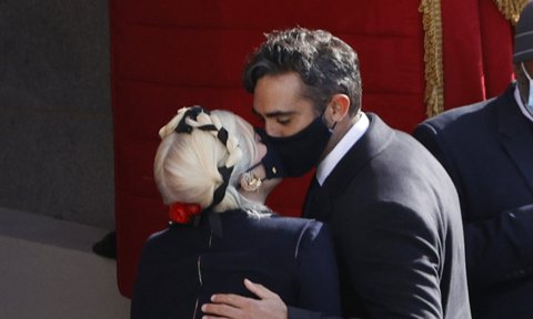 Lady Gaga kisses Michael Polansky during the inauguration of Joe Biden