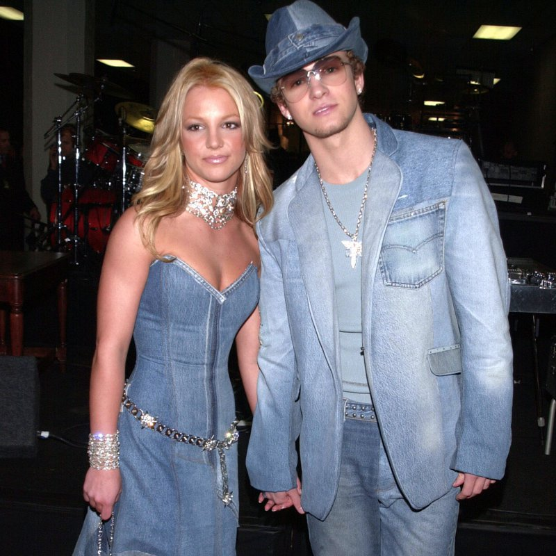 Britney Spears and Justin Timberlake in coordinated denim looks