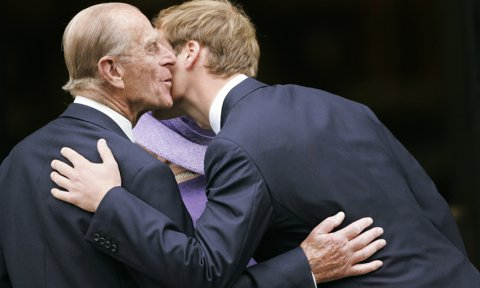 The Duke gave his grandson Prince William a kiss on the cheek at the 10th anniversary memorial service of Princess Diana in 2007.