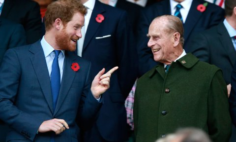 The Duke of Edinburgh shared a laugh with Prince Harry at the 2015 Rugby World Cup Final match between New Zealand and Australia.