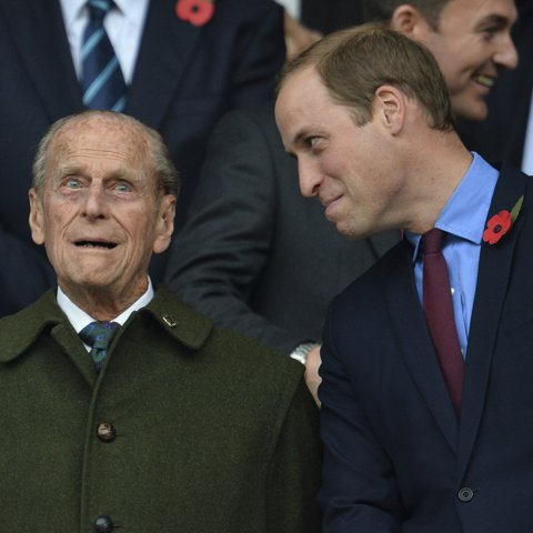 The Duke of Cambridge gave his grandfather a funny look at the Rugby World Cup in 2015.