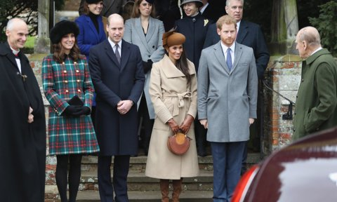 The Duke smiled at his grandsons and their respective significant others, Kate Middleton and Meghan Markle, following Christmas service in 2017.
