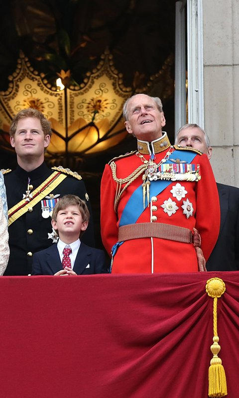 Philip stood beside his youngest grandchild, James, Viscount Severn, as they watched the RAF flypast over Buckingham Palace in 2015.