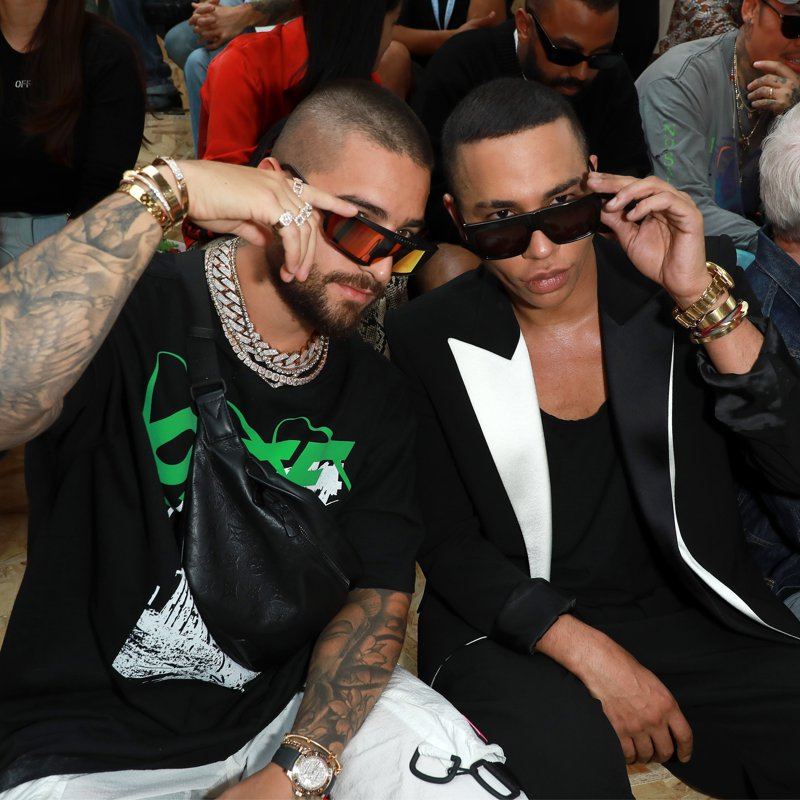 Olivier Rousteing and Maluma